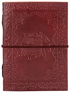 INDIARY Embossed Journal–Made of genuine buffalo leather and handmade paper–13x 18cm Baby Elephant