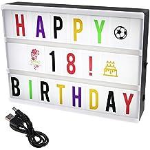 ISWEES Combinación libre cinematográfica luz LED caja de luz con 208 negro/de colores letras cartas números símbolos para tamaño A4 Ilumina tu vida