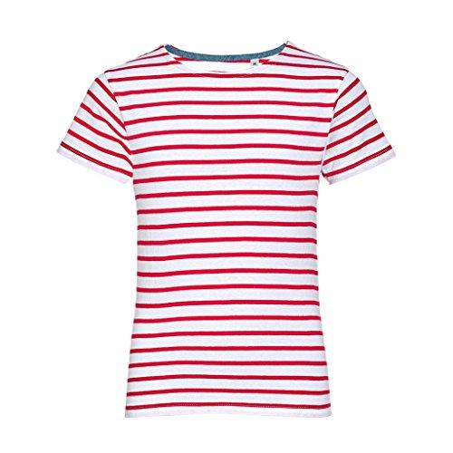 SOLS Kinder Miles Kurzarm T-Shirt, gestreift (6 Jahre) (Weiß/Rot) (Gestreift Shirt Jungen Rot)