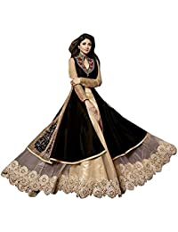 SK Creation Fabulous Black And Cream Neck Embroidered Long Sarara Style Anarkali Suit With Attractive Long Skirt