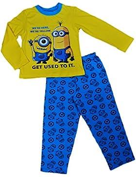 [Patrocinado]Pijama infantil unisex de manga larga, para 4 a 10 años, diseño de Minions con texto en inglés