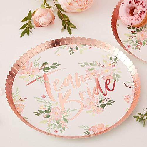 Ginger Ray Team Bride Floral Paper Plates - Floral Hen Range by