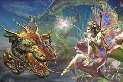 Il drago di sogno di Adrian Chesterman Art Print poster