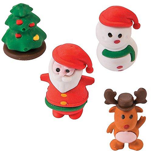 4 x Radierer Radiergummi Weihnachten Schneemann Weihnachtsmann Adventskalender...