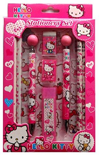 Lot de 10 pièces de papeterie pour enfants - Thème Barbie, Hello Kitty, Ben 10et Mickey Mouse - Rose, bleu, vert - Ensemble de papeterie pour l'école, cadeau surprise de fête Pink Hello Kitty