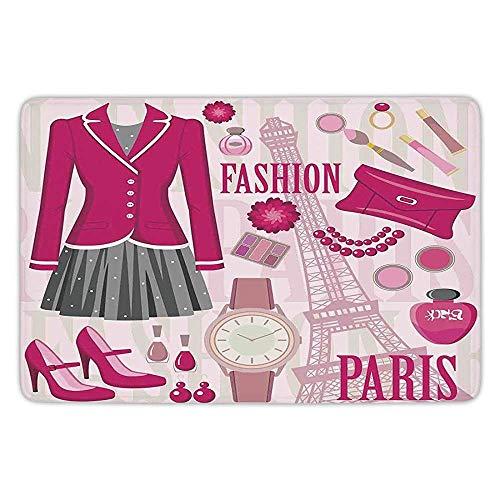 XIAOYI Bathroom Bath Rug Kitchen Floor Mat Carpet,Girls,Fashion Theme in Paris with Outfits Dress Watch Purse Perfume Parisienne Landmark,Pink Biege,Flannel Microfiber Non-Slip Soft Absorbent