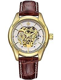 GuTe ORKINA vestido esqueleto oro blanco automático reloj mecánico correa de color marrón oscuro