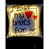 Craft N Creation Personalised Digital Printed Love LED Cushions, (battery Included) Size 15x15 Inch Perfect Gift For Mother's Day, Gift For Mom, Gift For Him, Gift For Her, Gift For Boyfriend, Gift For Girlfriend, Gift For Husband, Gift For Wife, Annivers
