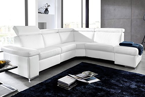 "Leder Sofa, Ecksofa ""Pisa"", mit Kopfteilfunktion, klappbare Armlehne, Fußteilfunktion, moebelhome"