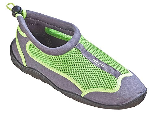 BECO Badeschuhe Surfschuhe Wattschuhe Strandschuhe Aqua Schuhe für Damen und Herren *Neue Kollektion (grau/grün, 43)