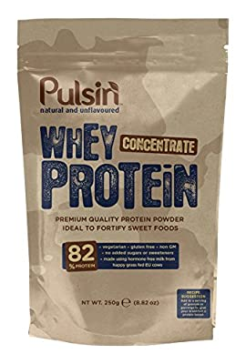 Pulsin' Unflavoured Whey Concentrate Protein Powder 1kg | 82% Protein | Natural | Vegetarian by Pulsin' Limited
