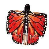 WOZOW Kinder Schmetterling Flügel Kostüm Nymphe Pixie Umhang Faschingkostüme Schals Poncho Kostümzubehör Zubehör (Dunkelorange)