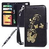 Kompatibel mit Huawei G8 Mini/Enjoy 5S/GR3 Hülle Hülle Luxus Gold Schmetterling Muster Lanyard/Strap Pu Leder Hülle Handytasche Brieftasche Etui Schutzhülle Flip Wallet Case Cover Schwarz