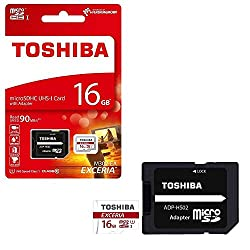 Toshiba Exceria M302 16GB Micro SD Memory Card 90 MB/s 4K - Recommended for Action Cameras, GoPRO Hero 4 & Hero 5