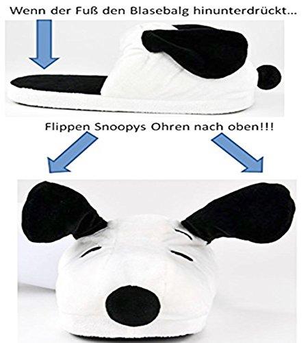 Snoopy Peanuts Plüsch Hausschuhe Slipper Weiß