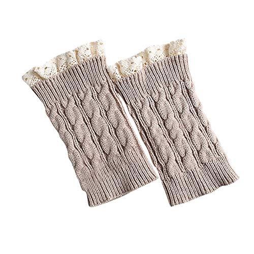Bealeuy Winter Frauen Kurze Stulpen Absatz grobe Nadel Beinwärmer Socken Boot Cover Frauen Mädchen Lace Crochet Knit Trim Boot Manschetten Toppers Beinwärmer Socken Leggings -