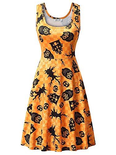 MSBASIC Halloween Kleider Karneval Kostüm Kleider für Mädchen Festlich Cocktailkleid Partykleid Frauen Vintage Ärmellos Kürbis Print Kleider 8005-2 Small