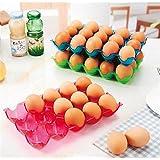 EQLEF® 1 piezas de colorido creativo de apilamiento 15 rejilla de huevo y huevo Caja de almacenamiento caja de Preservación