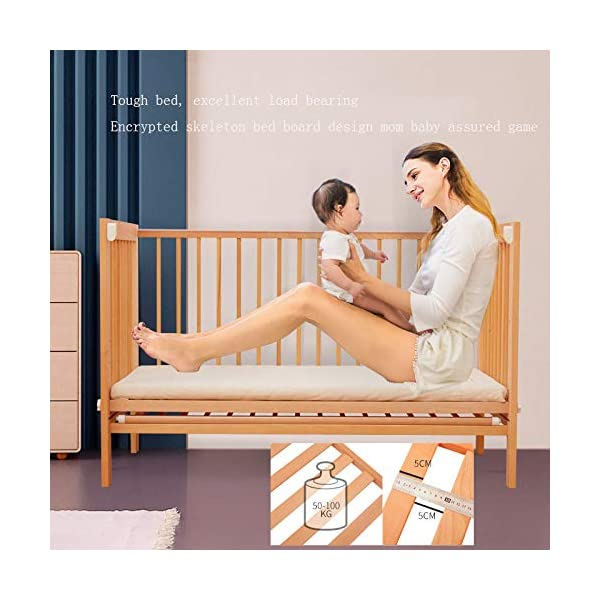 QINYUN Crib Splicing Bed Multi-functional Newborn Bed Solid Wood Baby Bed,D QINYUN 1. Tough bed board excellent load-bearing: Encrypted skeleton full-size wooden bed board design baby mother safe entertainment game 2. Silent walking baby sweet sleep: regular size bed mute caster shuttle unobstructed 3. Designed to grow with your child, the crib bed can be doubled as a baby bed by removing the sides and dropping the ends. 4