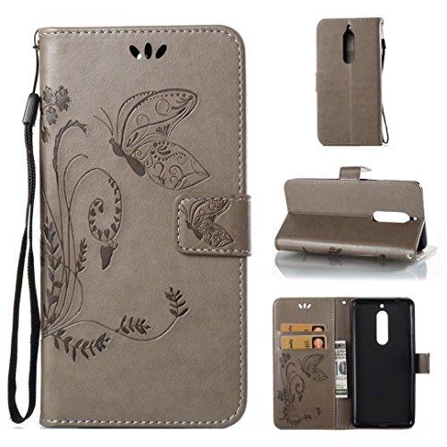 COWX Nokia 5 Hülle Kunstleder Tasche Flip im Bookstyle Klapphülle mit Weiche Silikon Handyhalter PU Lederhülle für Nokia 5 Tasche Brieftasche Schutzhülle für Nokia 5 schutzhülle