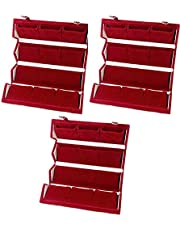 ATORAKUSHON Velvet 12 Pairs Folding Earrings Organizer Box (Red) - Pack of 3