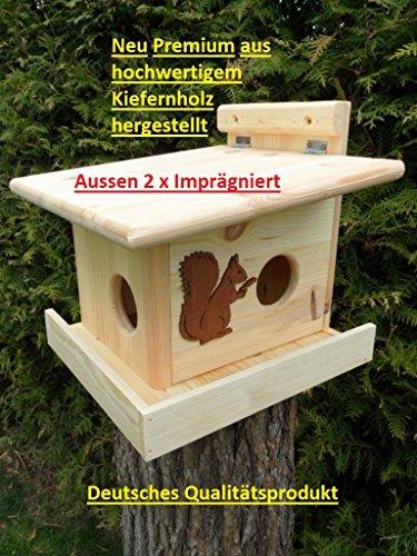XXXL Echhörnchen Kobel / Futterhaus aus 18mm starken,hochwertigem Kiefernholz, deutsches Qualitätsprodukt vom Schreiner wahlweise Imprägniert oder naturbelassen (Eichörnchenkobel imprägniert)