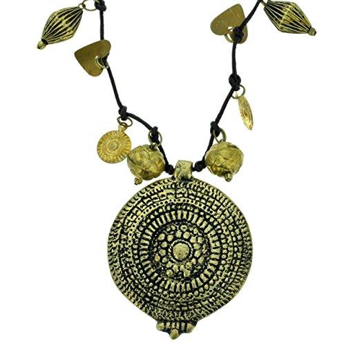 Behave Antike Goldfarbe Halskette - Anhänger Halskette mit Muster - Vintage Halskette für sie