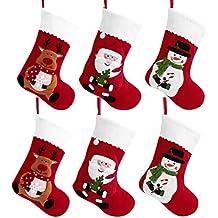 TOYVIAN 6 Medias de Navidad Decoracion, Santa Claus Medias, Muñeco de Nieve Medias Bolsa