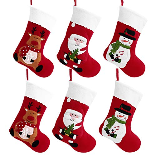 Toyvian Christmas Holiday Stockings Christmas Hanging Bags 6PCS Red Felt Xmas Tree Decorations Santa Snowman Reindeer Gift Treat Bag