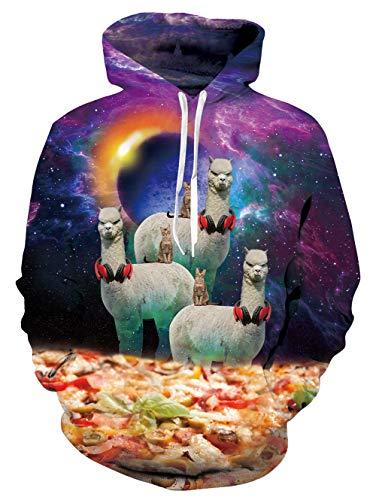 Fanient Adult Unisex Leichte Coole Alpaka Pizza Grafik Hoodies Realistische 3D Gedruckt Neuheit Paar Sweatshirt mit Taschen -