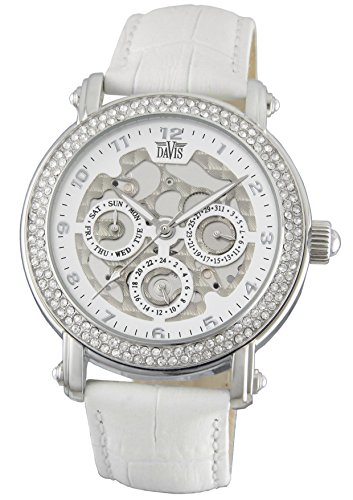 Davis 1811 - Womens Crystal Watch Skeleton Clear Swarovki Rhinestone Day Date White leather Strap