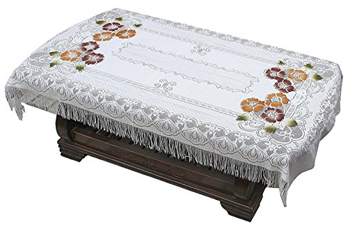 Yellow Weaves Transparent Center Table Cover 4 Seater 40X60 Inches (Off-White)