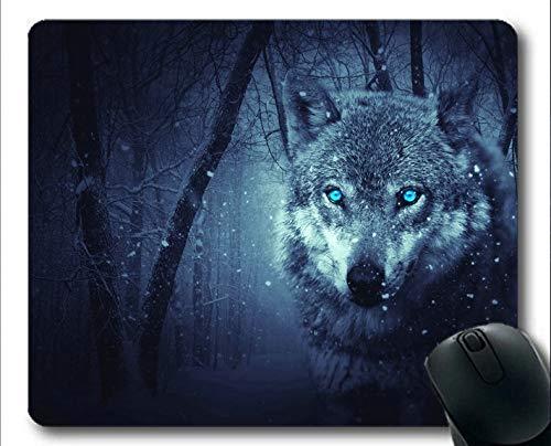 Yanteng Mousemat, Blaue Augen Schneefall Fantasy Forest Wolf Gaming-Mauspads