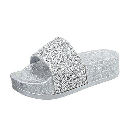 Ital-Design Pantoletten Damen-Schuhe Sandalen Sandaletten Silber, Gr 38, P-758-