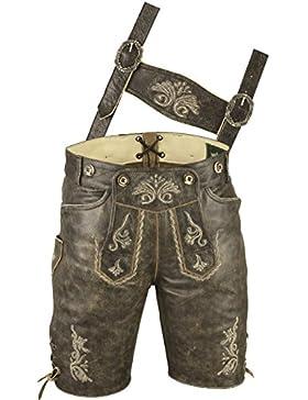 Erstklassige Lederhose mit Träger, Trachten Lederhose Herren kurz, Damen Trachtenlederhose im Antik Nappa Leder...