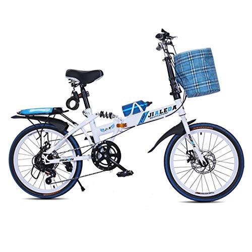 """Folding Bikes Bicicletta Pieghevole a velocità variabile per Adulti e Studenti, Ultra Leggera, Portatile, con smorzamento, per Uomini e Donne, Mini Mountain Bike, 50,8 cm, Blue, 50 cm(20\"""")"""