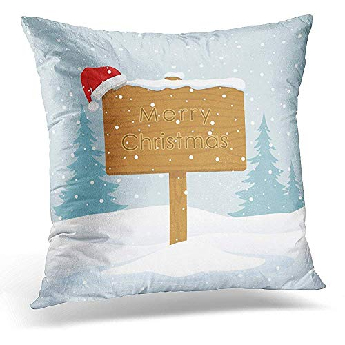 decorativas para almohada, Pillow Cover Red Billboard Wooden Sign with Inscription of Merry Christmas on Winter Snowy Landscape White Board Throw Pillow Case Square Home Decor Pillowcase 18x18 Inches