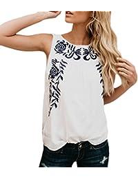 Blusen Damen Sommer Elegant Vintage Bestickt Ärmellos Rundhals Festlich  Bekleidung Mädchen Mode Casual Locker Shirt Oberteile 4b02ec9dd6