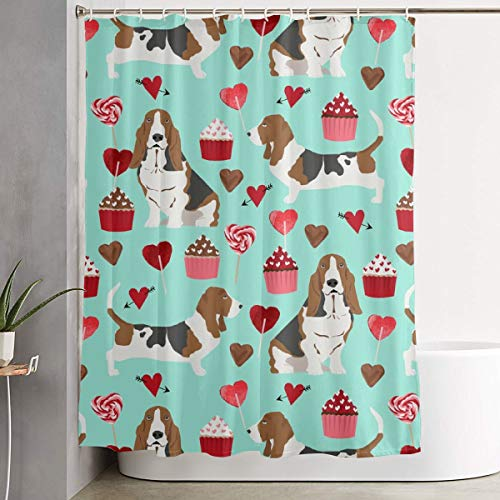 IconSymbol Decorative Easy Care Basset Hounds Valentines Cupcakes Hearts Love Basset Hounds Valentines Design Aqua Colorful Bathroom Shower Curtain for Showers 60
