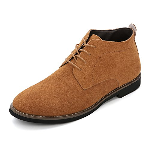 Desert Boot, Gracosy Herren Damen Schnürhalbschuhe Derby Schuhe Oxford Mokassins aus Veloursleder High-Top Lederschuhe Casual Schuhe Suede Leather Braun 39