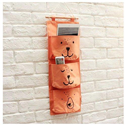 Inwagui Baumwollspitze Bad Kleinbeträge Aufbewahrungstasche Finishing 3-Taschen Gadget Pouch Organizer Wandtasche Faltbar Tasche-Orange (Stoff-handtaschen Natürliche)