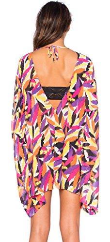 La Vogue Gilet Plage Châle Mousseline Kimono Robe Col V Cover Up Imprimé Rétro Floral