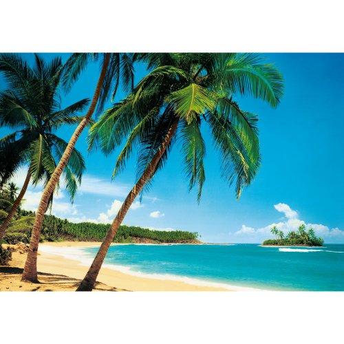 W G GIANT 8 PART TROPICAL ISLAND BEACH SEA PALM TREE WALLPAPER MURAL 366 X 254CM