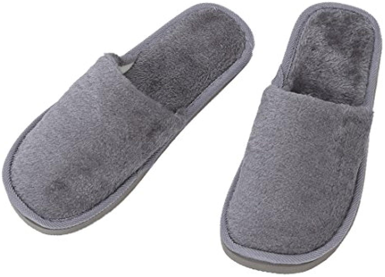 SODIAL(R) Zapatillas calido de invierno suave para casa lana gris hombre Reino Unido 8.5 para pie longitud 27 cm