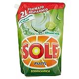 Sole Detersivo Piatti Liquido Ecoricarica, Lemon, 2 L