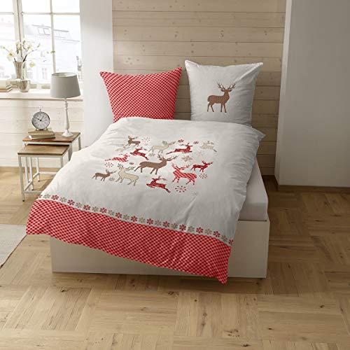 CASATEX Fein-Biber Bettwäsche FELINO moderne Landhausstil Hirsche mit feinem Karo 135x200 cm rot weiß