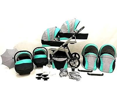 Carro gemelar 3en1 ISOFIX. Capazos+sillas+sillas de coche+accesorios ...