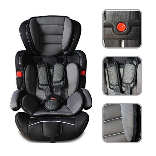 Todeco - Baby Autositz, Kinder Booster Autositz - Standard/Zertifizierung: ECE R44/04 - Altersgruppe: Kinder von 9 Monaten bis 12 Jahren - 9 bis 36 kg, Schwarz