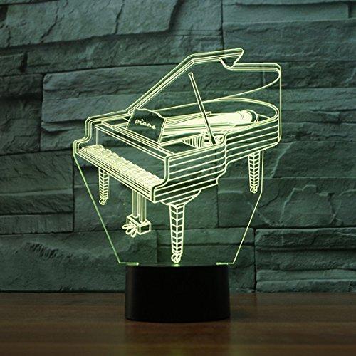 LED Nachtlicht,KINGCOO Magical 3D Visualisierung Amazing Optische Täuschung Touch Control Light 7 Farben ändern Schreibtischlampen für Kinderzimmer Home Decoration Best Geschenk (Piano) - 5