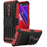 ASUS ZenFone 2 Funda - MoKo [Heavy Duty] Rugged Armor con Kickstand Cover Funda - Dual Layer Shock Resistant ASUS ZenFone 2 5.5 Inch Android OS Smart Phone 2015 , ROJO